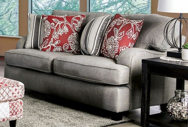 Ames Charcoal Chenille Loveseat by Furniture of America