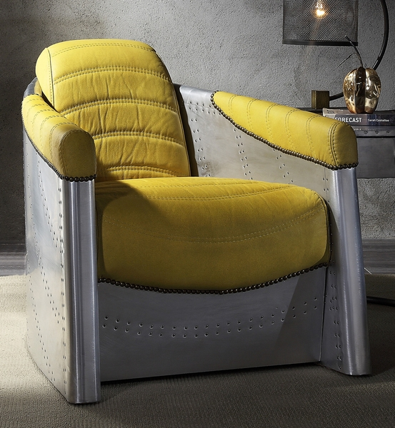 Brancaster Yellow Top Grain Leather Accent Chair by Acme