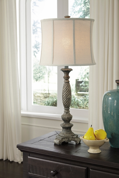 Signature Design Alinae Antique Gray Poly Table Lamp by Ashley