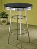 Cleveland Chrome Plated Bar Table with Black Top by Coaster