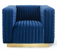 Charisma Navy Performance Velvet Tufted Accent Chair by Modway