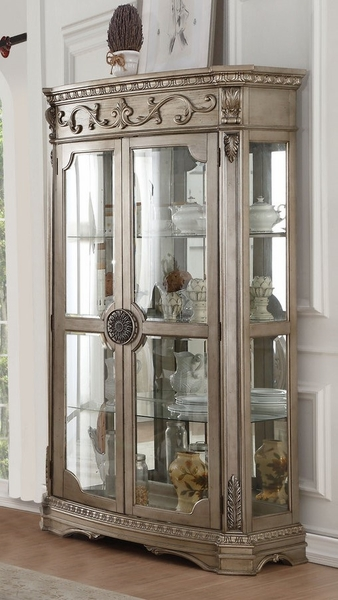 Northville Antique Champagne Wood/Glass Curio w/Touch Light by Acme
