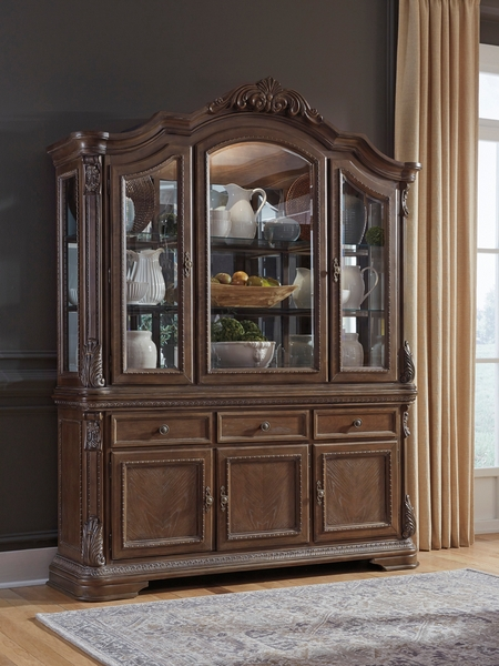 Signature Design Charmond Brown Wood Buffet with China by Ashley