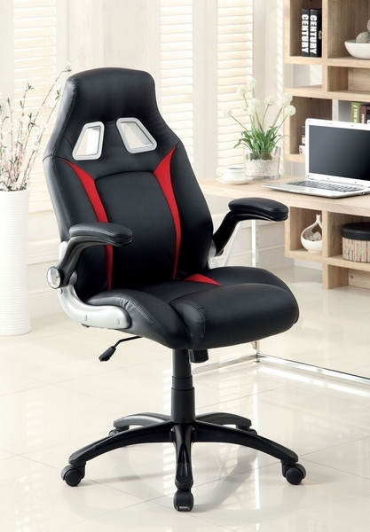 Argon Black Office Chair with Red Accents by Furniture of America