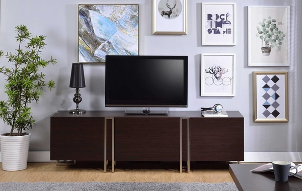 Cattoes Dark Walnut Wood TV Stand with Metal Accents by Acme