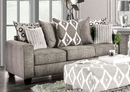 Basie Gray Burlap Weave Sofa (Oversized) by Furniture of America
