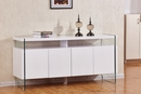 Ondina Clear Glass/White Wood Cabinet by Best Quality Furniture