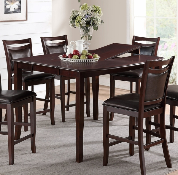 Stefanie Dark Brown Wood Counter Height Table with Leaf by Poundex