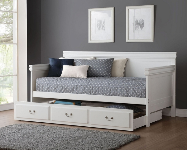 Bailee White Wood Twin Daybed with Trundle by Acme