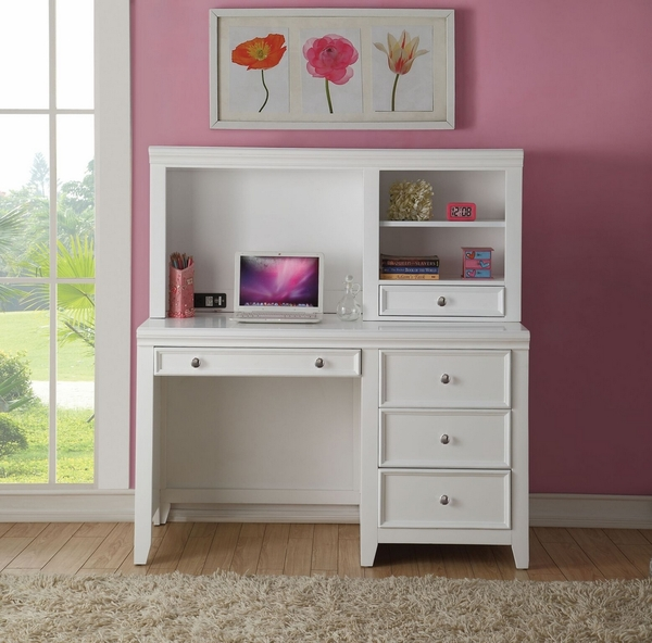 Lacey White Pine Wood Computer Desk with Hutch by Acme