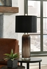 Signature Design Abaness 2 Black Glass Table Lamps by Ashley