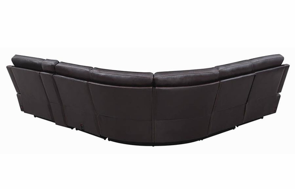 Albany 6-Pc Brown Leatherette 2xPower Recliner Sectional by Coaster