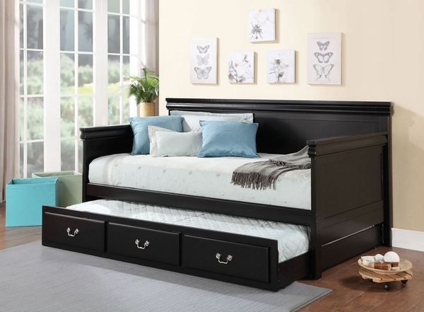 Bailee Black Wood Twin Daybed with Trundle by Acme