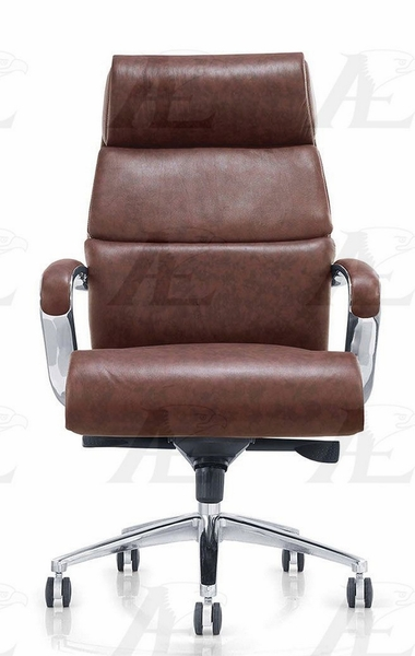 Nilda Brown PU Leather Office Chair by American Eagle Furniture