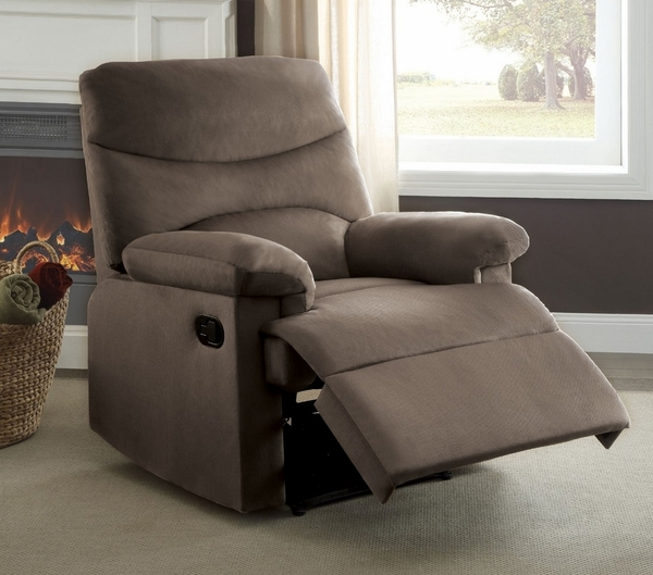 Arcadia Light Brown Woven Fabric Manual Recliner by Acme