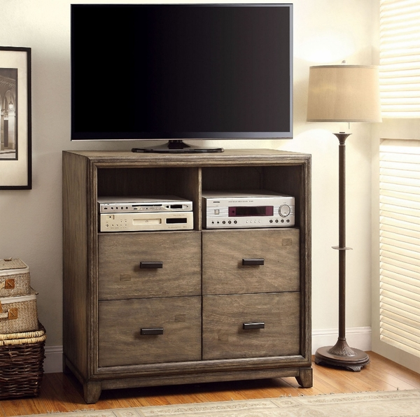 Antler Natural Ash Wood Media Chest by Furniture of America