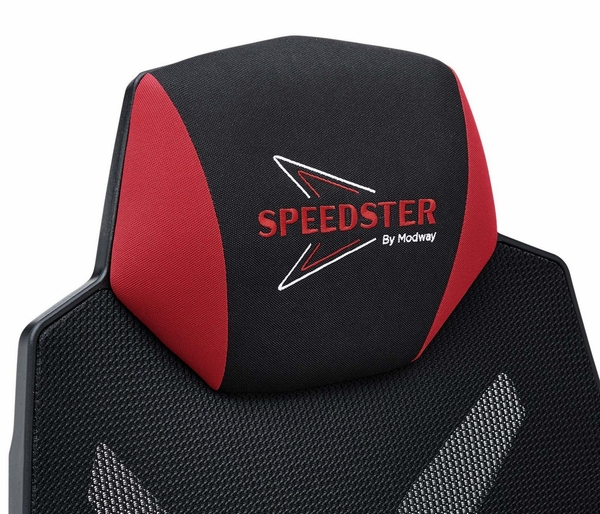 Speedster Black/Red Breathable Mesh Fabric Gaming Chair by Modway