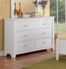 Rosario White Wood 6-Drawer Dresser by Poundex