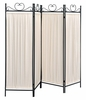 Amaryllis Beige Fabric/Black Metal 4 Panel Folding Screen by Coaster