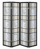 Poesy Floral Fabric/Black Wood 4 Panel Folding Screen by Coaster