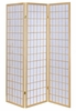 Ednas White Paper/Natural Wood 3 Panel Folding Screen by Coaster
