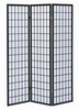 Ednas White Paper/Black Wood 3 Panel Folding Screen by Coaster