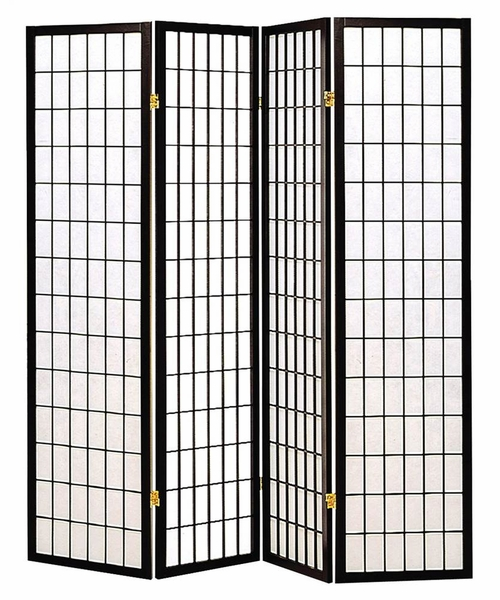 Ednas White Paper/Black Wood 4 Panel Folding Screen by Coaster