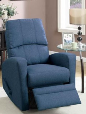 Marisa Navy Polyfiber Manual Swivel Recliner by Poundex