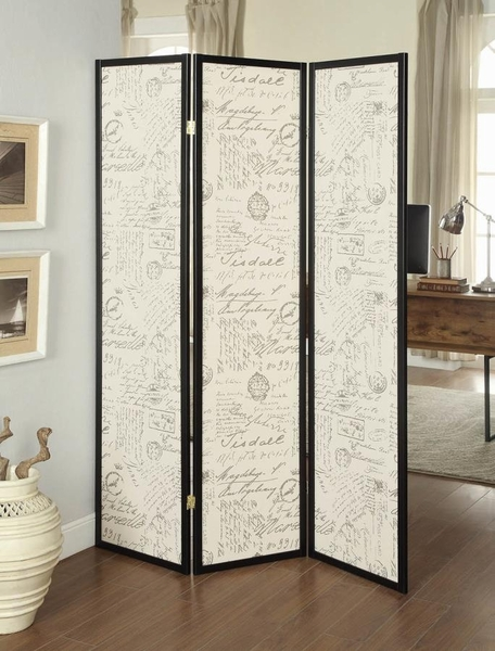 Dilys French Script Fabric/Espresso 3 Panel Folding Screen by Coaster