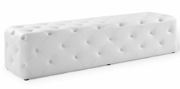 """Amour White Faux Leather Button Tufted 72"""" Entryway Bench by Modway"""