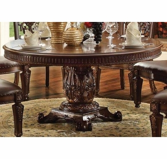 Vendome Cherry Wood Pedestal Dining Table By Acme