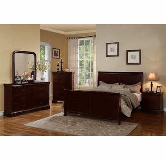 Fiona 6 Pc Cherry Wood King Bedroom Set With Sleigh Bed By Poundex