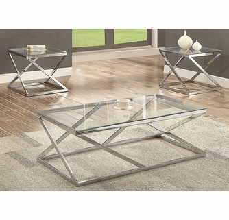 Chase 3 Pc Glass Metal Coffee Table Set By Crown Mark