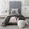 Arabelle 3-Pc Grey Velvet Twin Bed Set with Ottoman by TOV Furniture