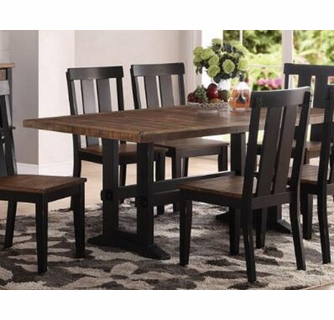 Ninon Dark Brown Black Wood Rectangular Dining Table By Poundex