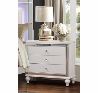 alonza 6 pc white wood queen bedroom set w led lighting by homelegance