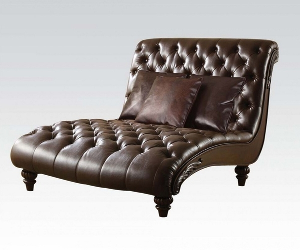 Anondale 2-Tone Brown PU Leather Chaise with 3 Pillows by Acme