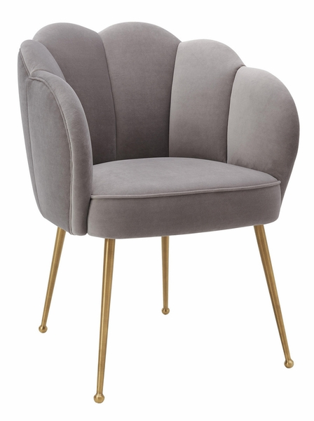 Peony Grey Plush Velvet/Metal Arm Chair by TOV Furniture