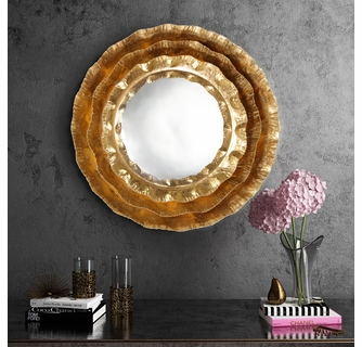 Petal Gold Iron Metal Wall Round Accent Mirror By Tov Furniture