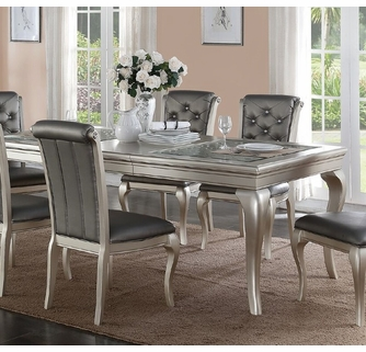 Chrissy Antique Silver Wood Rectangular Dining Table By Poundex