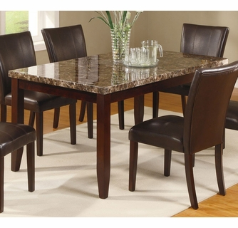 Ferrara Dark Brown Dining Table W Faux Marble Top By Crown Mark