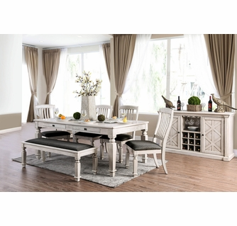 Georgia Antique White Wood Dining Table, White Wood Dining Room Sets