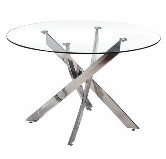 Caryl Clear Glass Chrome Round Dining Table By Best Master Furniture