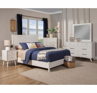 Flynn White Finish Wood Small Chest W 3 Drawers By Alpine Furniture