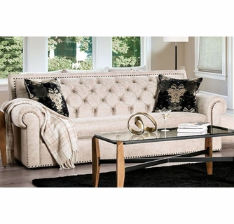 parshall beige faux leather sofa oversized by furniture of america