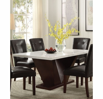 Forbes White Walnut Marble Wood Rectangular Dining Table By Acme