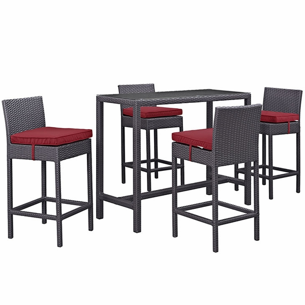 Convene Espresso/Red Outdoor Patio Pub Set with Large Table by Modway