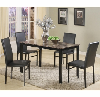 Aiden 5 Pc Dining Table Set W Faux Granite Top By Crown Mark
