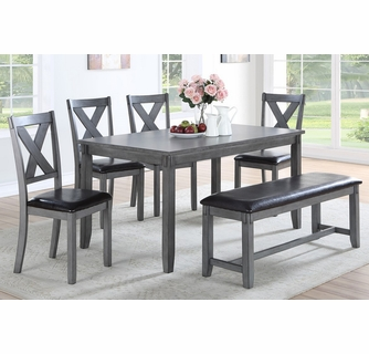 Grey Wood Faux Leather Dining Table Set, Grey Dining Room Set