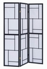 Dexie White Paper/Black Wood 3 Panel Folding Screen by Coaster